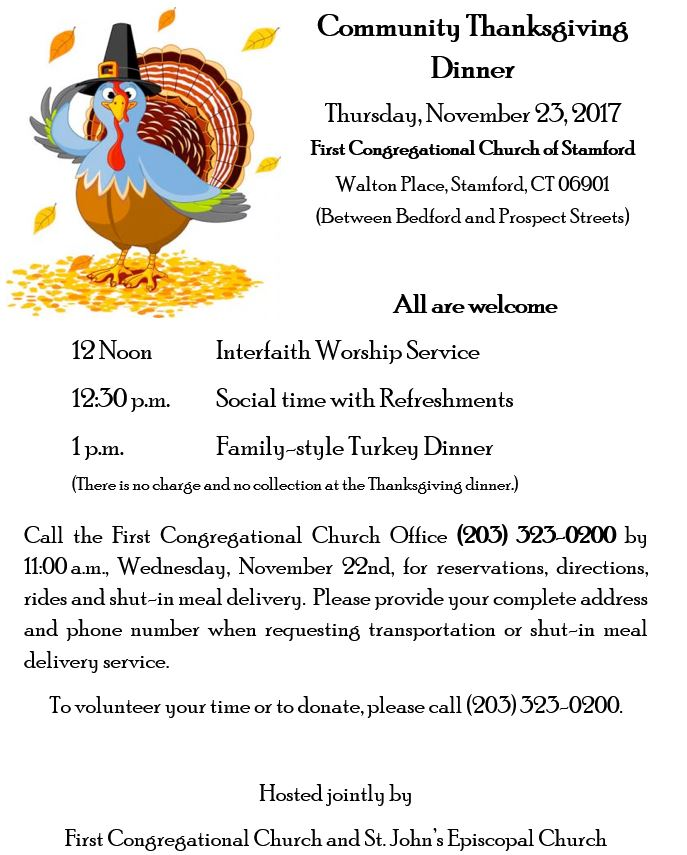 Thanksgiving Dinner @ First Congregational Church of Stamford